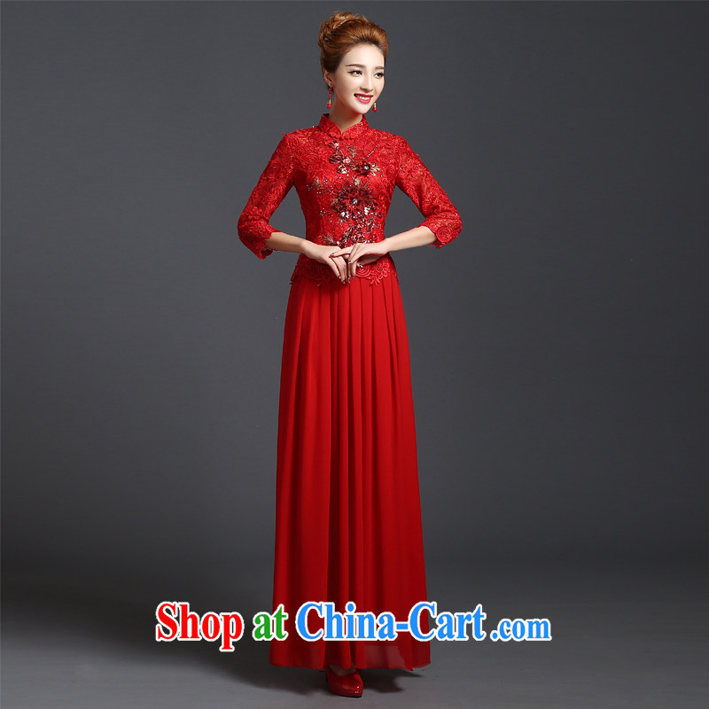 Ting Beverly served toast winter 2014 new bride wedding dress long lace cheongsam red Chinese Dress autumn red short-sleeved XXL Ting, Beverly (tingbeier), online shopping