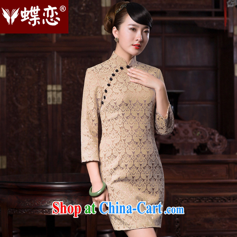 Butterfly Lovers spring 2015 the new, improved stylish jacquard 7 cuff cheongsam dress 49,070 White Bird tattoo XXL