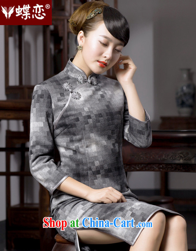 Butterfly Lovers 2015 spring new stylish improved grid cheongsam dress retro style long hair is 49,054 dresses gray mosaic XL