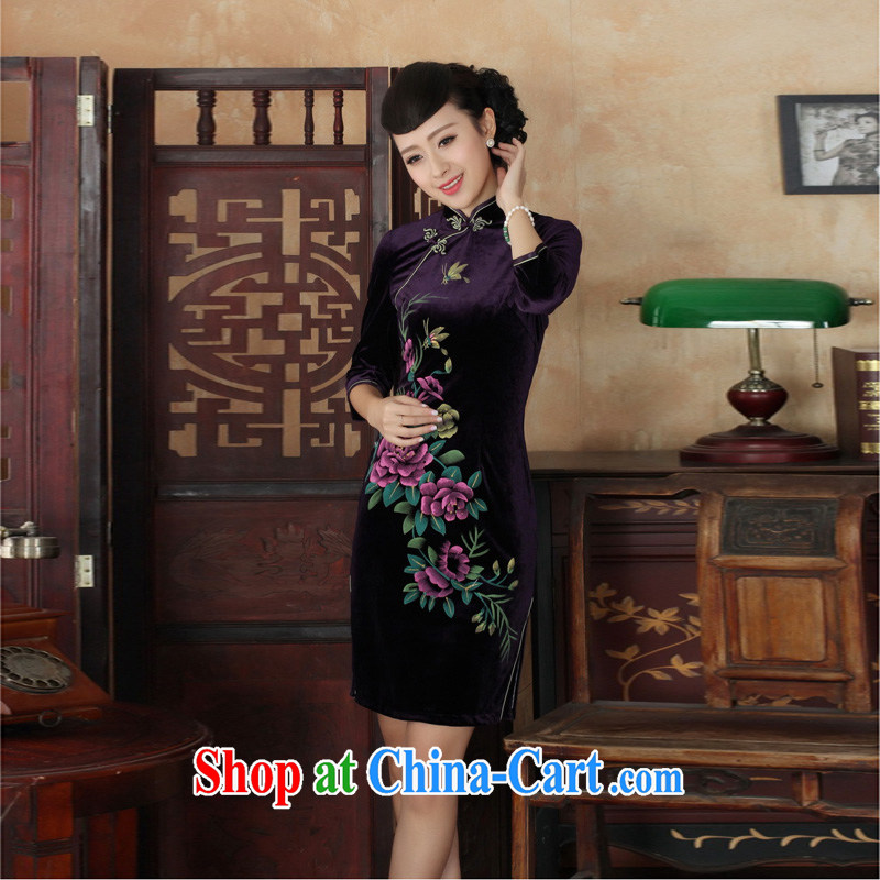Mrs Ingrid economy autumn vines into the new outfit Tang Women's clothes, collar stretch the wool embroidery, short sleeves cheongsam TD 0026 - B XXL