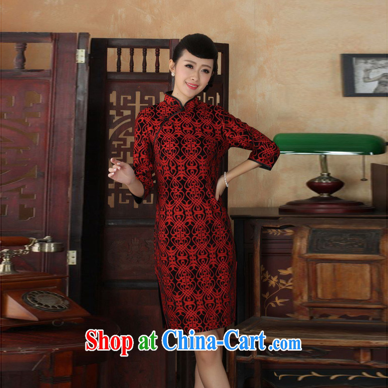 Mrs Ingrid sprawl economy 2014 new Autumn and Winter load Tang cheongsam dress, for Chinese improved lace gold velour cheongsam beauty skirt 7 sub-sleeved dresses as XXL