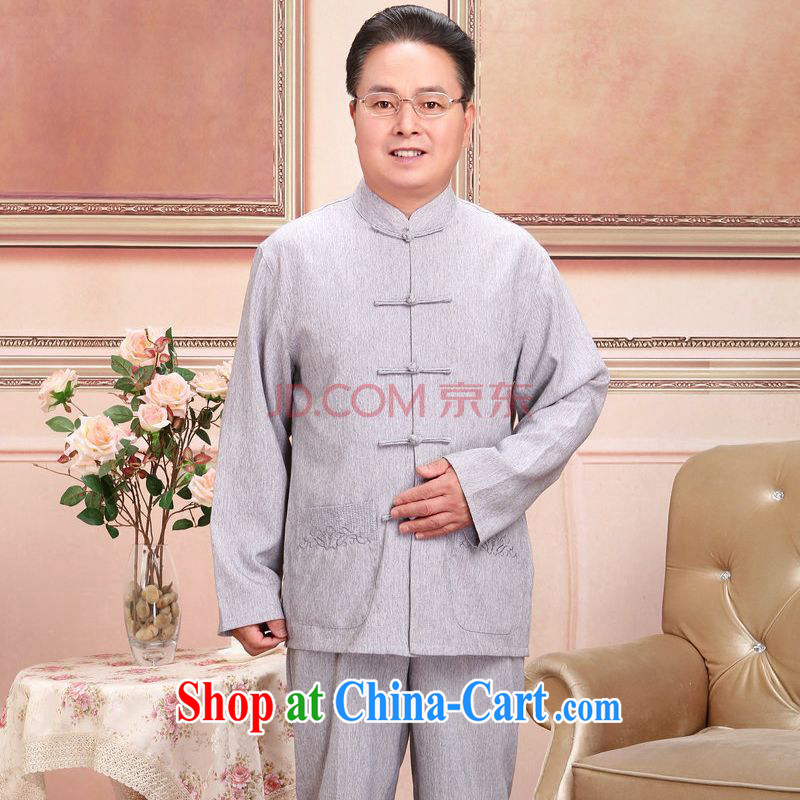 Joseph cotton in older Chinese men and women couples taxi loaded spring and fall jacket cotton long-sleeved T-shirt the pants Kit men's gray suit XL