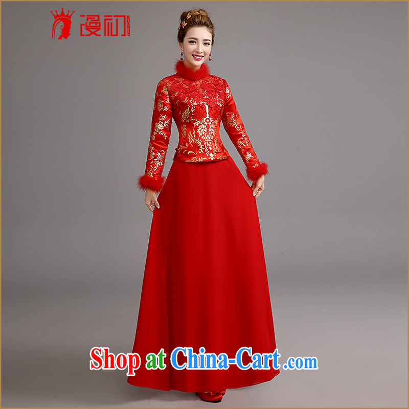 Definition 2015 early New cheongsam dress retro improved cultivating cheongsam Lace Embroidery bridal toast cheongsam dress winter, thick XXL code