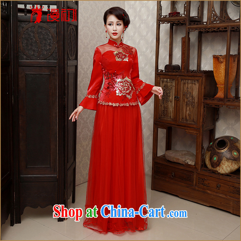 Early definition retro improved cultivation dresses 2015 new cheongsam dress Lace Embroidery bridal toast cheongsam dress red XXL code