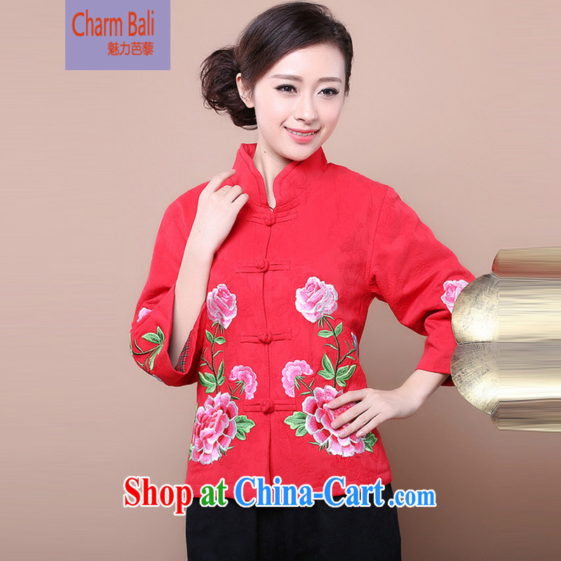 2014 fall and winter girls decorated in stylish cotton jacquard Tang jackets kit to sell FG red T-shirt XXXXL