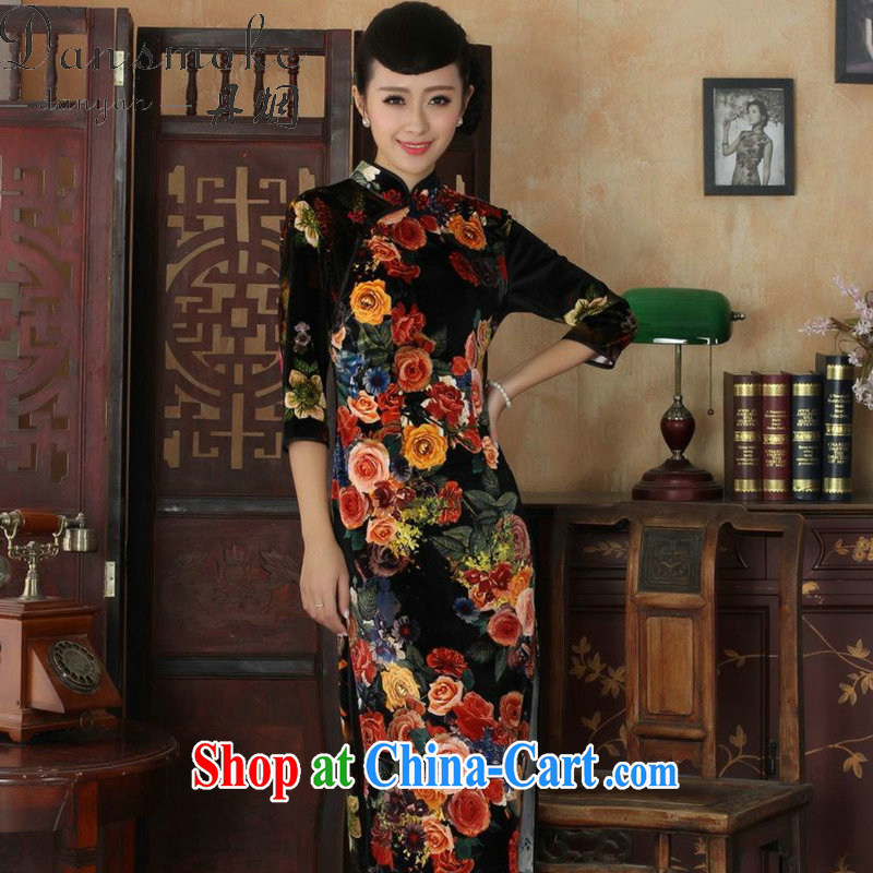 Dan smoke cheongsam dress Chinese Autumn with new, for improved stretch the wool painting stylish classic in long sleeves dresses such as figure 2 XL