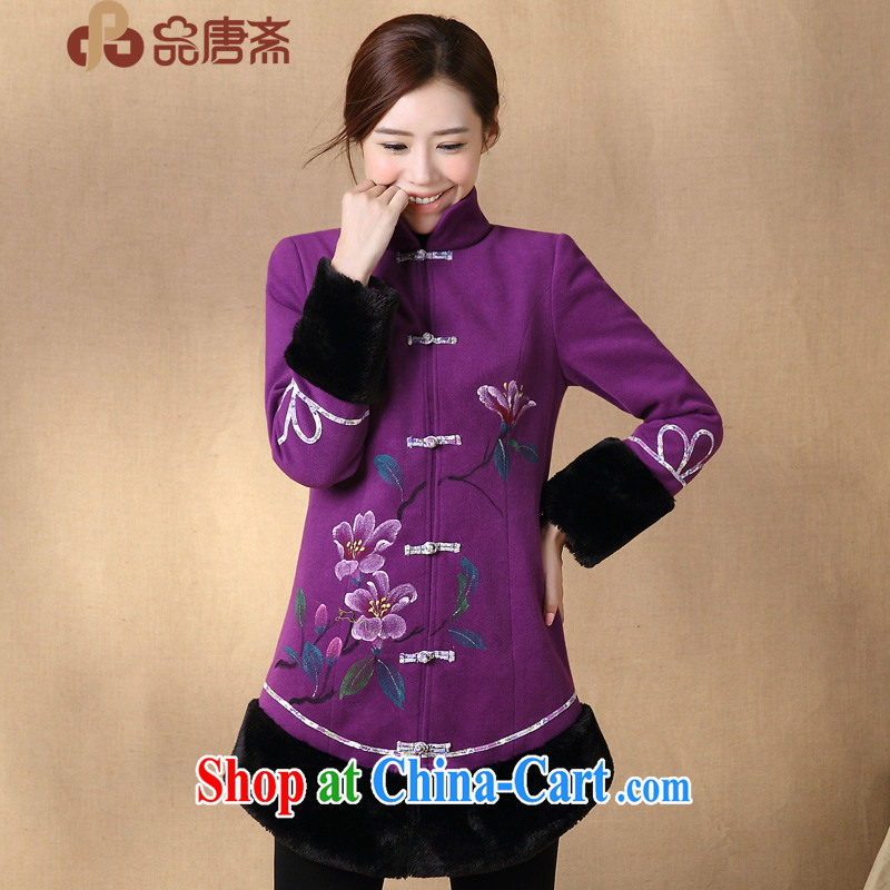 Mr Henry Tang, Ramadan 2014 winter clothes new Ethnic Wind long-sleeved retro improved Tang women purple L
