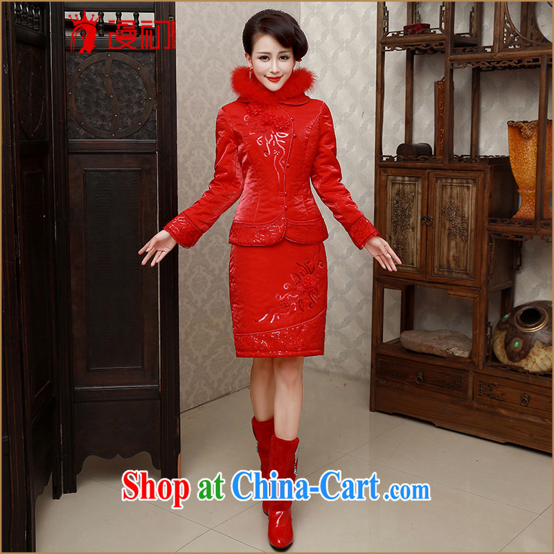 Early definition 2015 new autumn and winter red bridal wedding dress winter beauty short base package bows dresses dresses serving thick warm marriage flag red M