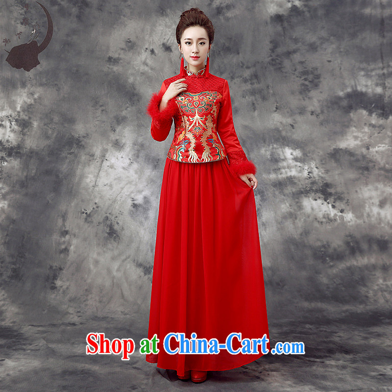 Dream of the day wedding dresses 2015 new bride wedding toast service improvement package the cotton cheongsam qipao winter Q 867 red XXXL 2.4 feet waist