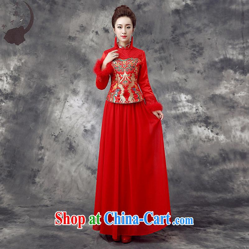 Dream of the day wedding dresses 2015 new bride wedding toast service improvement package the cotton cheongsam qipao winter Q 867 red XXXL 2.4 feet waist