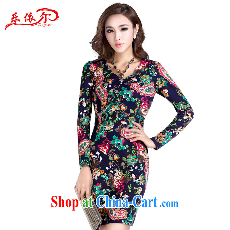 And, in accordance with new fancy long-sleeved dresses V collar retro improved cultivating skirt stylish and elegant cheongsam dress suit XXXL