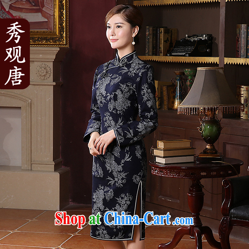 The CYD HO Kwun Tong' Buddha, Xiaodong replacing long-sleeved dresses 2014 new fleece, long antique cheongsam dress QC 41,037 dark blue XXL