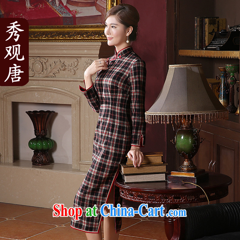 The CYD HO Kwun Tong' MS cloud 2014 winter clothes thick cheongsam dress long-sleeved long the forklift truck grid Korea QC 41,036 and black and red XXL
