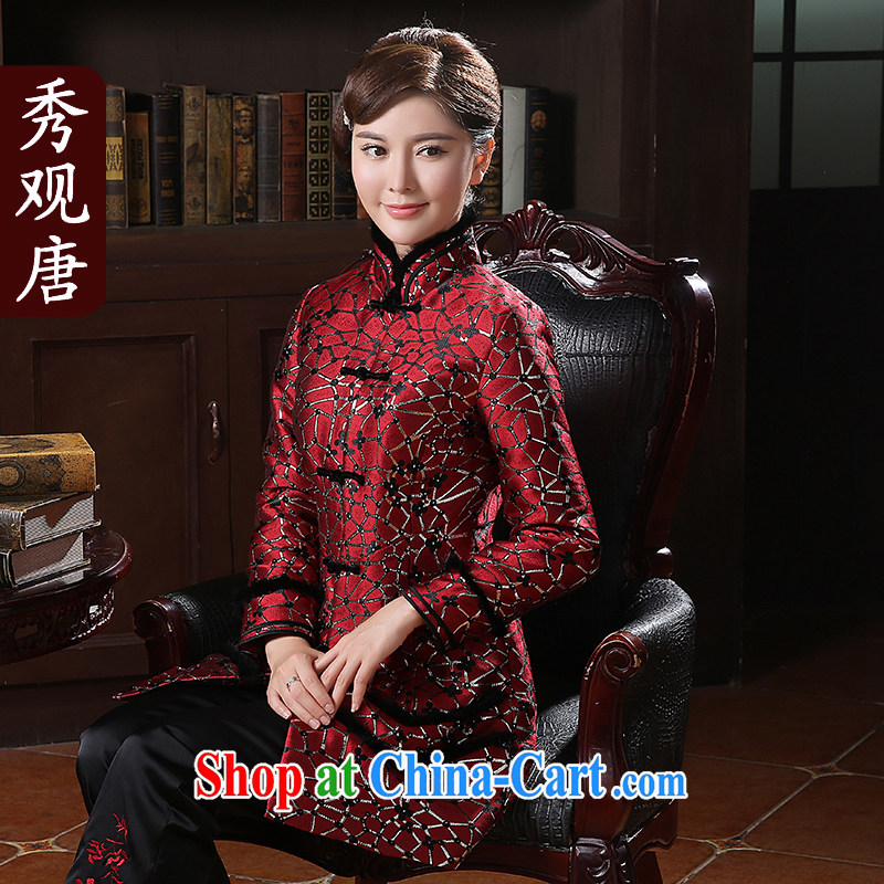 The CYD HO Kwun Tong' star, water stingrays 2014 gross aura winter clothing new jacket, Ms. Tang with autumn and winter TC quilted coat 41,022 dark red XXXL