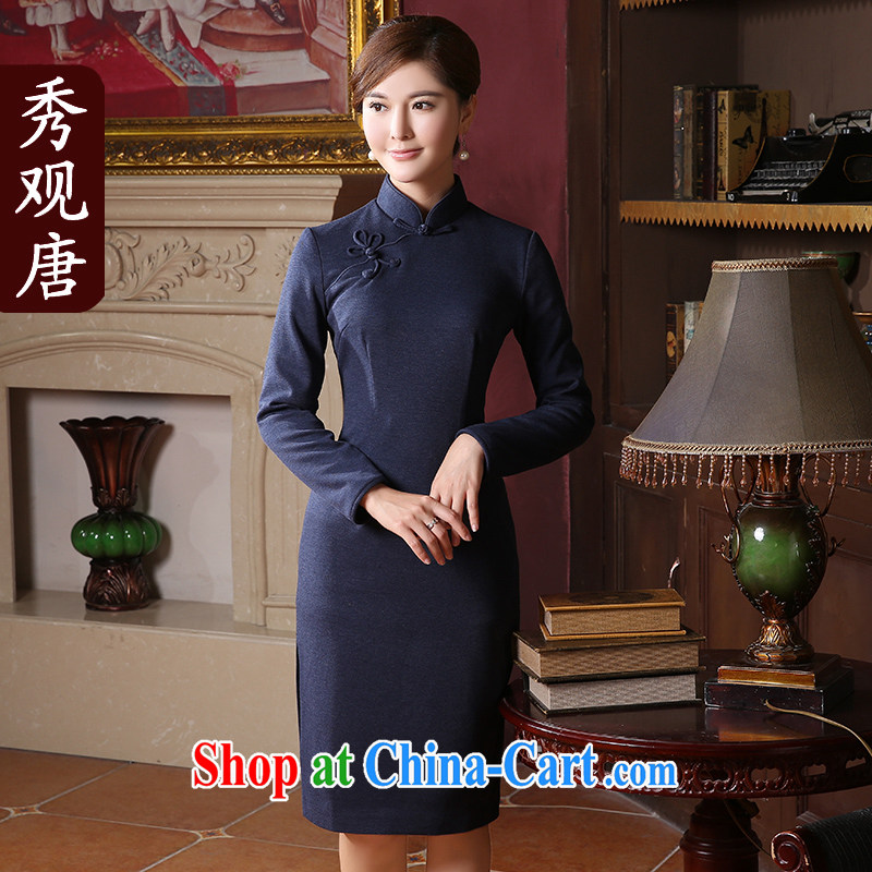 The CYD HO Kwun Tong' once and for all the 2015 autumn and winter with new long-sleeved dresses retro style solid color, long, 41,033 QC Po blue XXL