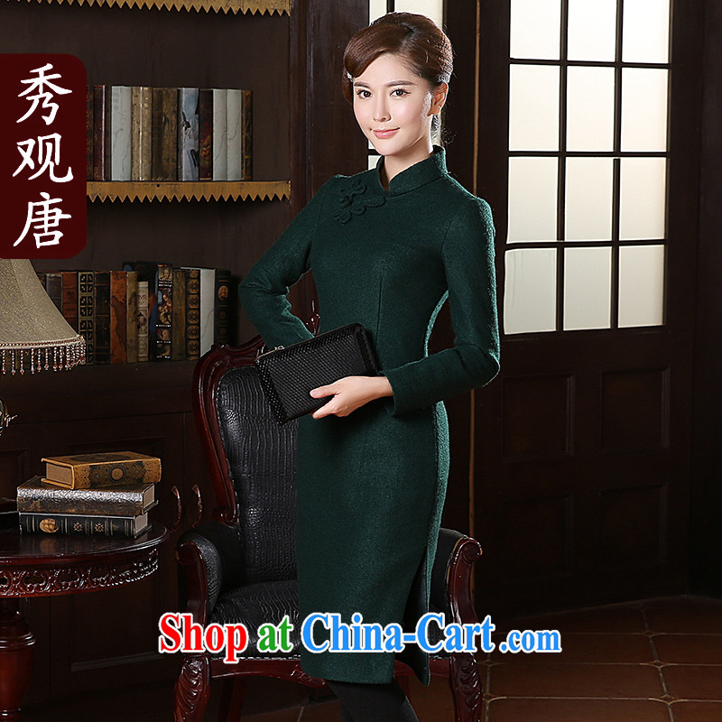 The CYD HO Kwun Tong' Hong Kong Chow winter clothes new long-sleeved dresses 2014 fall and winter long in sepia tones, cheongsam dress QC 41,025 emerald XXL