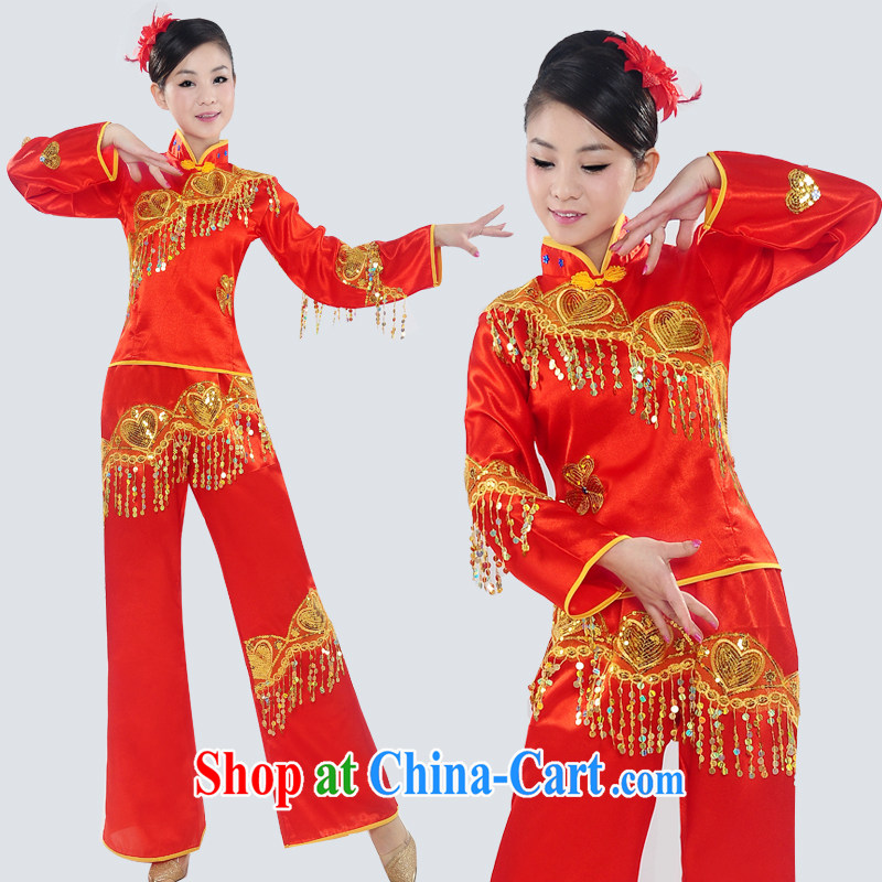 Dual 12 arts dream 2014 new yangko fashion show clothing yangko fans Janggu dance clothing ethnic clothing female square dance HXYM - 0026 photo color XXL