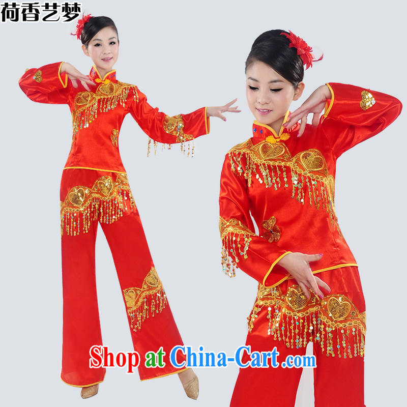 I should be grateful if you would arrange for her dream 2014 new yangko Fashion Show clothing yangko fans Janggu dance clothing ethnic clothing female HXYM 0026 photo color XXL