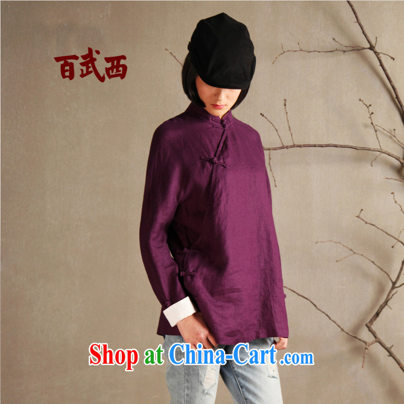 100 armed West cotton the literary and art original innovation, female retro China wind up for a hard drive for female-T-shirt T 2893 purple are code