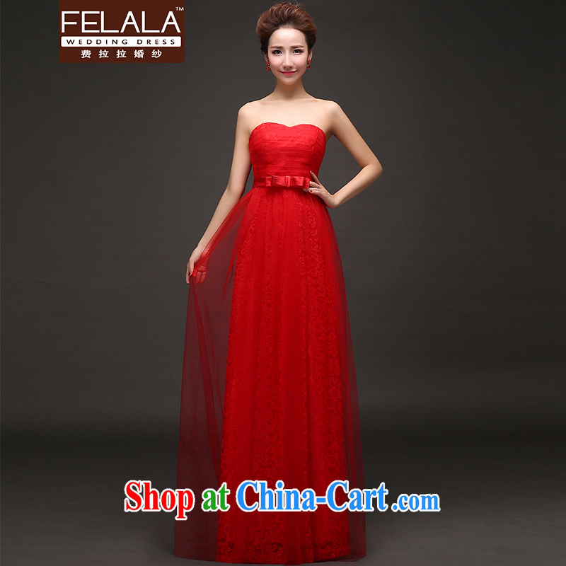 Ferrara 2015 new wedding dress Korean-style lace bare chest strap dress Evening Dress XL Suzhou shipping