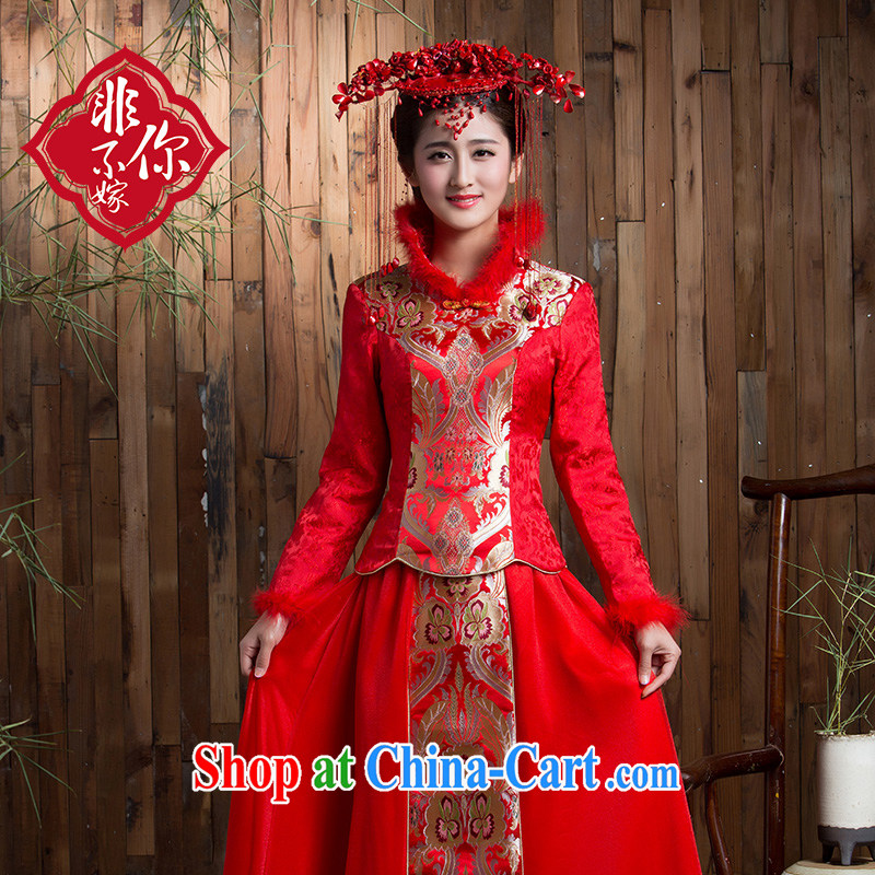 Non-you don't marry long-sleeved long skirt bridal hair collar dresses retro red autumn and winter clothes toast the code back to the red 2 XL