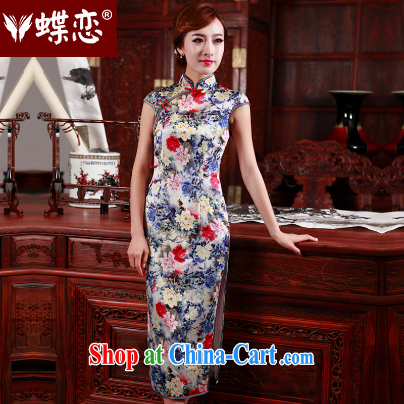 Butterfly Lovers 2015 spring new heavy silk long cheongsam improved stylish Sau San cheongsam dress 47,003 figure XXXL