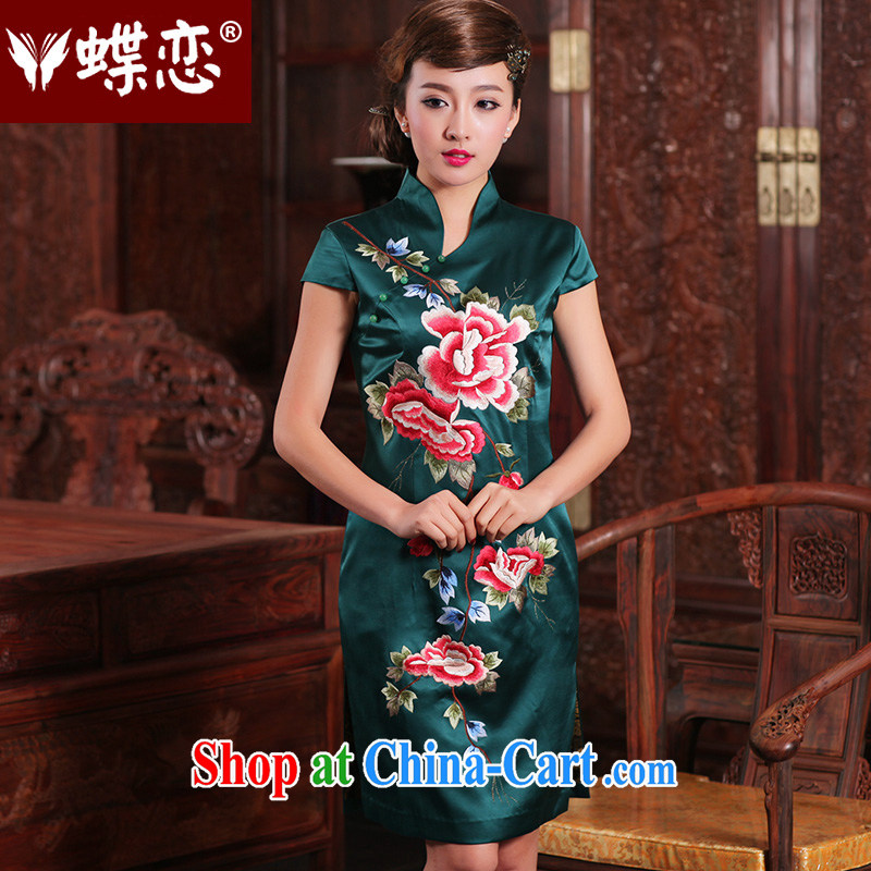 Butterfly Lovers 2015 spring new daily casual outfit Ethnic Wind embroidery 100_ heavy Silk Cheongsam 49,127 figure XL