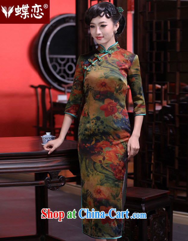 Butterfly Lovers spring 2015 the new, improved daily Silk Cheongsam retro manual cheongsam dress 49,128 figure S