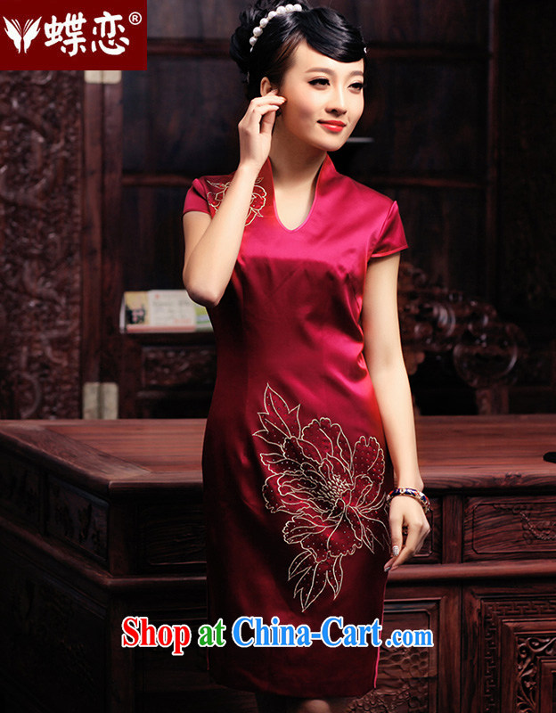 Butterfly Lovers spring 2015 the new, improved day-old fashioned hand made embroidered hot drill heavy Silk Cheongsam improvement 49,129 dark pre-sale 20 days out XL