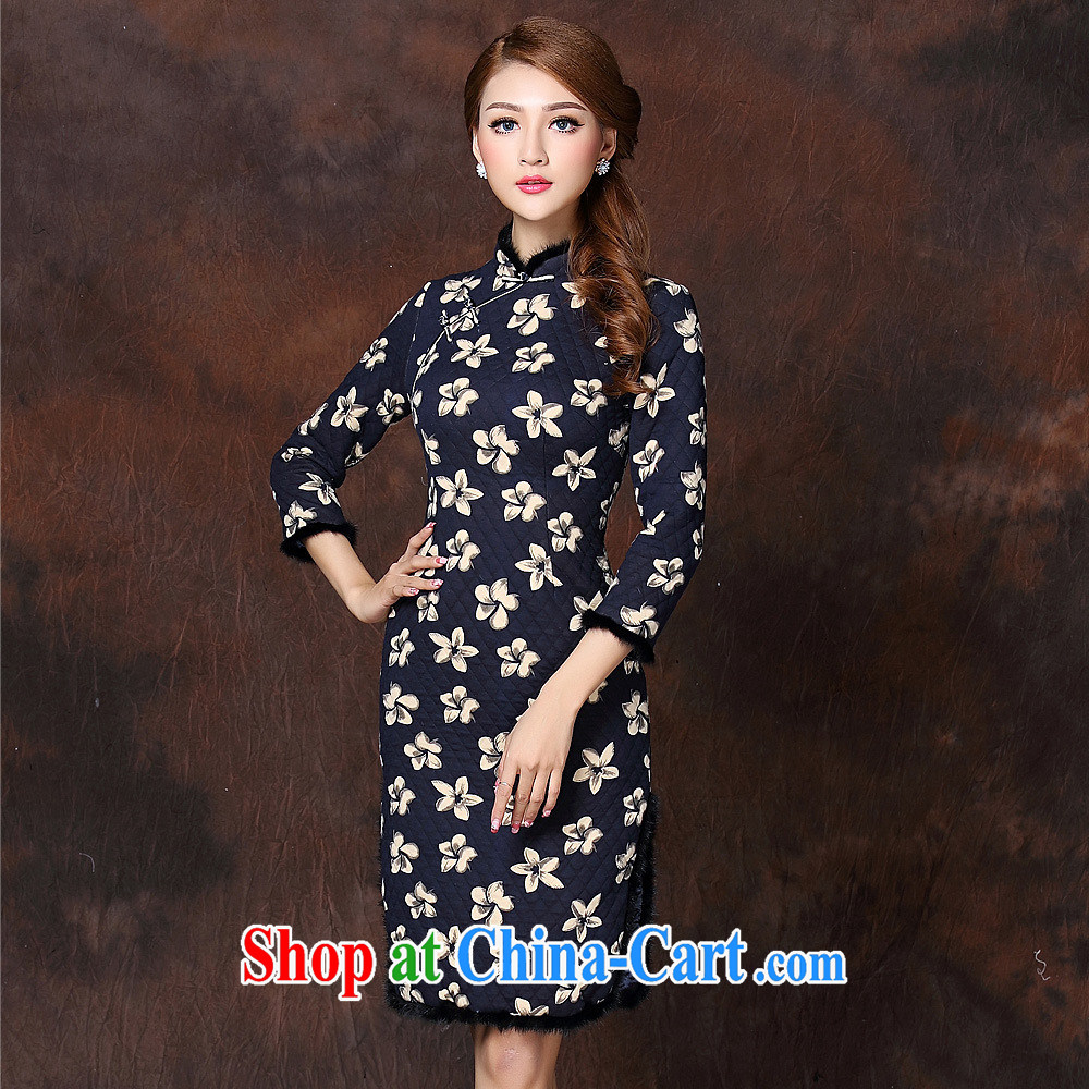 2014 autumn and winter, the girls improved Stylish retro spelling in gross cuff quilted long cheongsam QF 141,010 picture color XXL