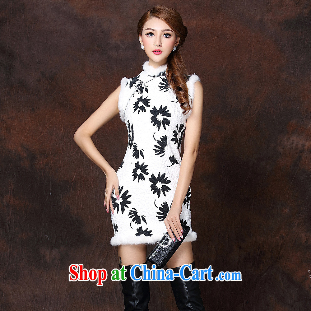 2014 autumn and winter, the girls improved stylish spell gross sleeveless quilted is not the Lao short cheongsam QF 141,011 picture color XXL