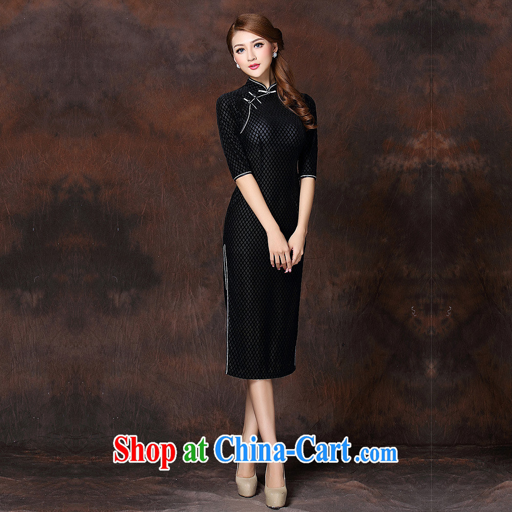 2014 fall and winter new girls improved Stylish retro in velvet cuff long cheongsam QF 141,007 black XXXXL