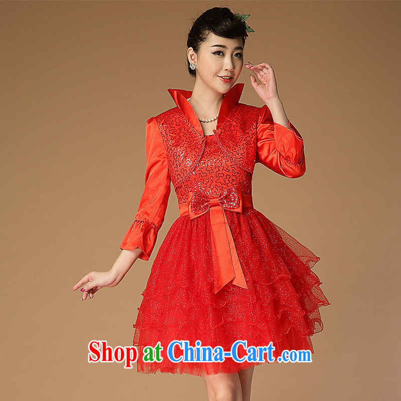 2014 new wedding dress red bridal dresses serving toast Princess cuff dress evening dress dresses two piece red XXL