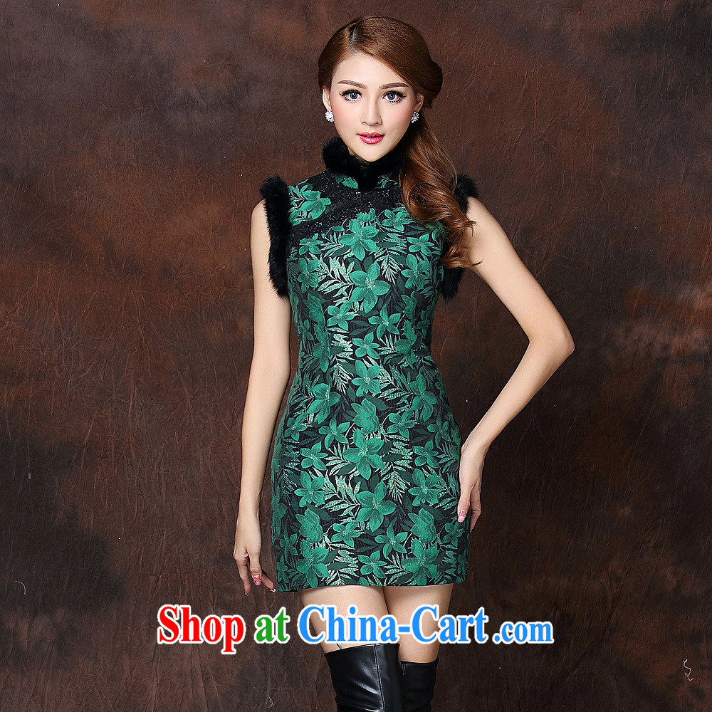 2014 autumn and winter, the girls improved stylish spell gross sleeveless quilted is not the Lao short cheongsam QF 141,013 dark XXL