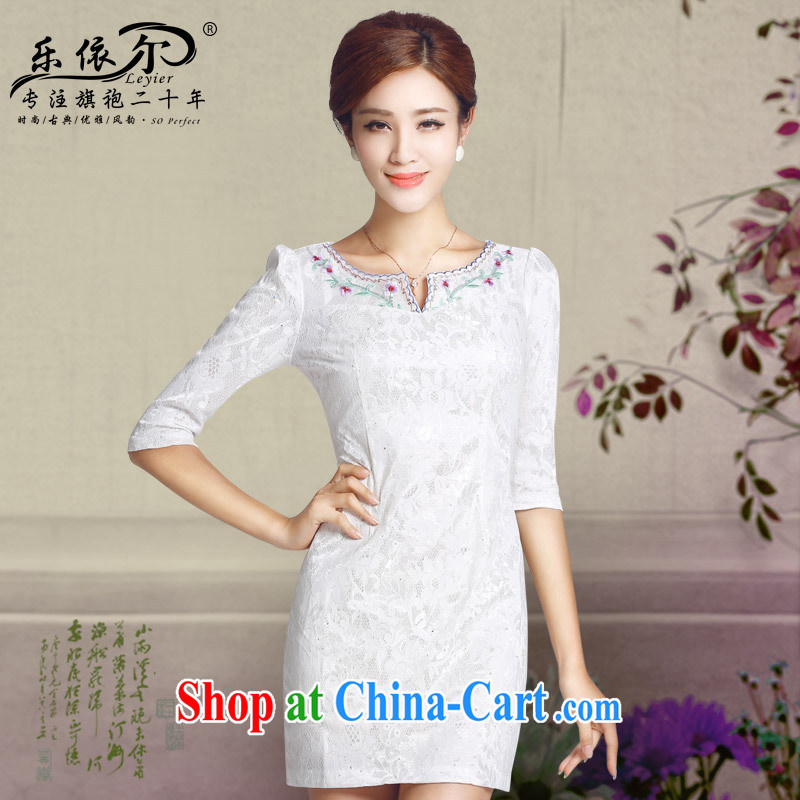 America in autumn 2014 new dresses, embroidered cuff daily short cheongsam classical lady cheongsam wholesale white XXL