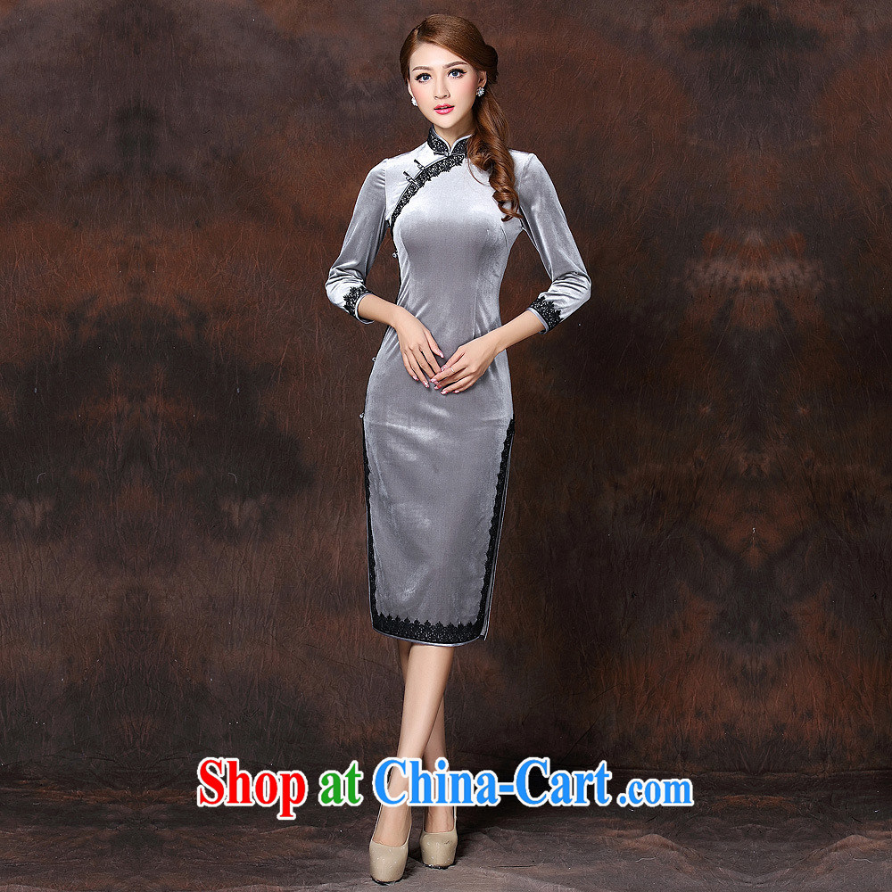 2014 fall and winter new female lace stitching improved stylish retro cuff in gray velour long cheongsam QF 141,006 charcoal gray Kim XXXXL