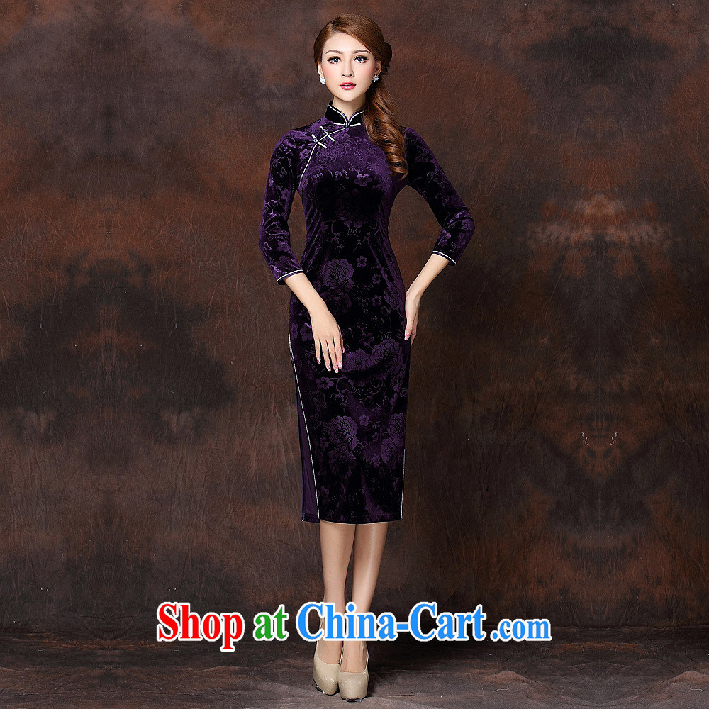 2014 fall and winter new girls improved Stylish retro-flower cuff wool long cheongsam QF 141,008 green XXXXL
