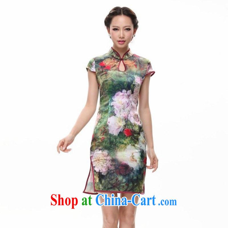 HIV can also be silk The color day perfume drop collar cheongsam drops for QP 12,018 - 12 green XXXXL