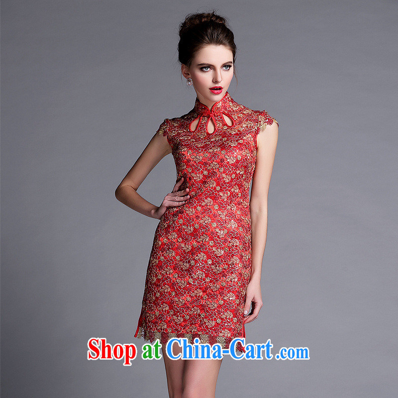 2014 new cheongsam dress QF 140,501 red XXL