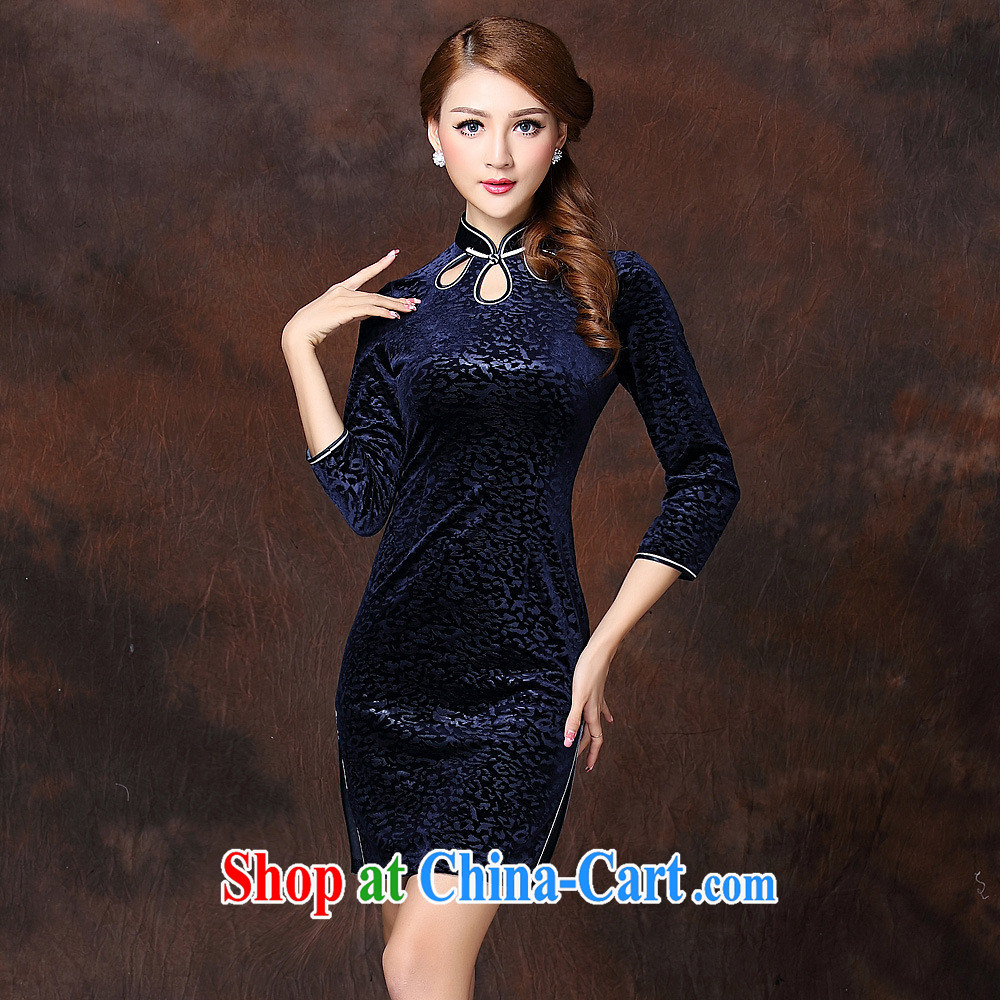 2014 fall and winter new female embossing improved stylish retro facade wool short cheongsam QF 141,001 blue XXXXL