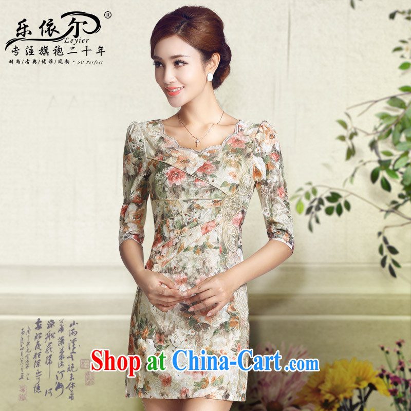 And, in accordance with the cuff antique cheongsam dress fall 2014 new girls daily Chinese improved cheongsam dress girls blue floral XXL