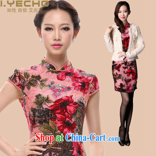 Spring 2013 New Silk Cheongsam wedding retro bows dress sauna silk improved stylish autumn cheongsam dress female toner flag M