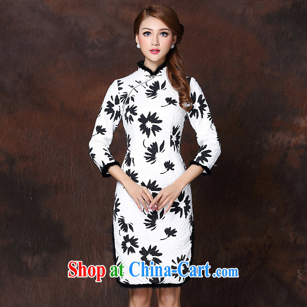 2014 fall and winter new women with improved modern spelling in gross cuff quilted long cheongsam QF 141,009 picture color XXL