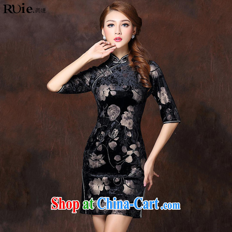 Health Concerns 2014 winter new female stamp improved stylish retro 7 cuff wool short cheongsam QF 141,003 picture color XXXXL
