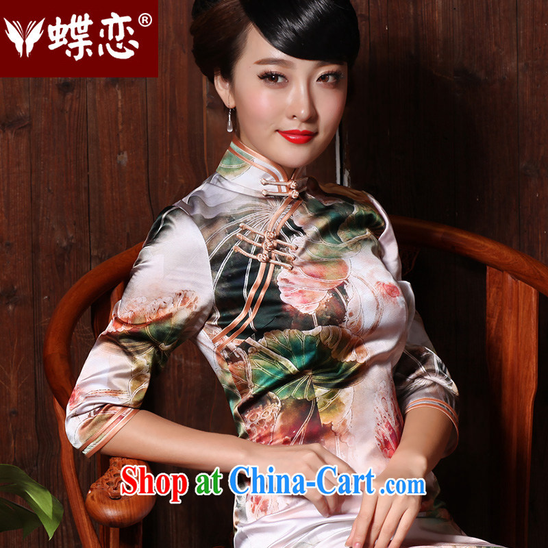 Butterfly Lovers 2015 spring new improved stylish long sauna Silk Cheongsam dress in antique dresses cuff 49,135 figure S