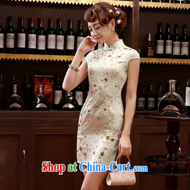 Morning dresses, new summer retro short improved stylish sauna silk silk Chinese qipao dress small chopper bean green L