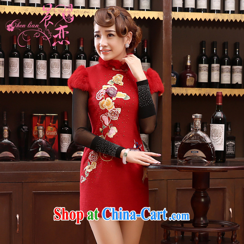 Morning 2014 land Bride with autumn and winter wedding dresses improved wool toast Chinese long-sleeved gown skirt Chinese red red XXL