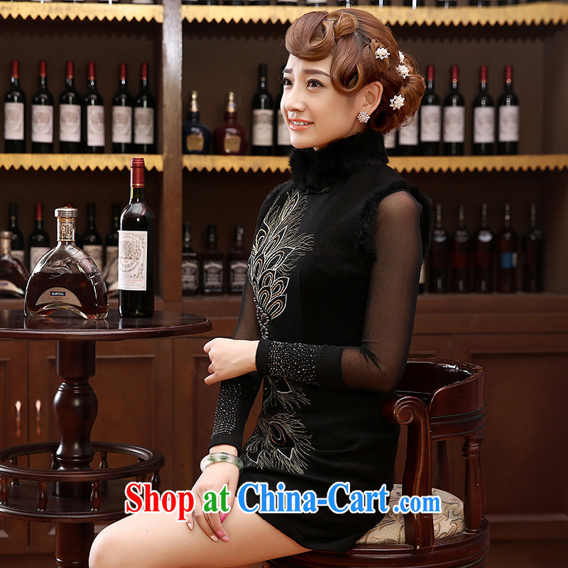 Morning love 2014 new Autumn and Winter Fashion cheongsam improved daily retro cheongsam dress wool annual so short skirt black XXL