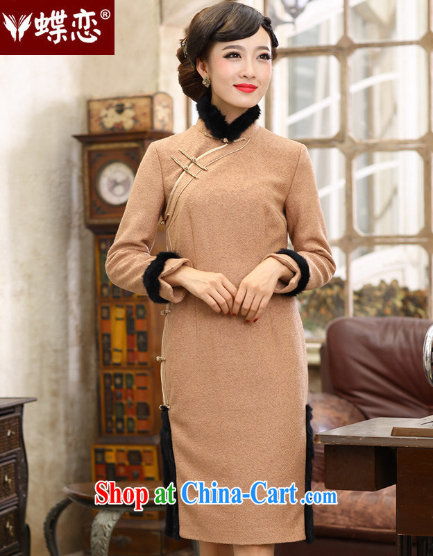 Butterfly Lovers 2015 spring new stylish improved wool cheongsam dress retro long-sleeved daily hair is 49,140 dresses figure XXL