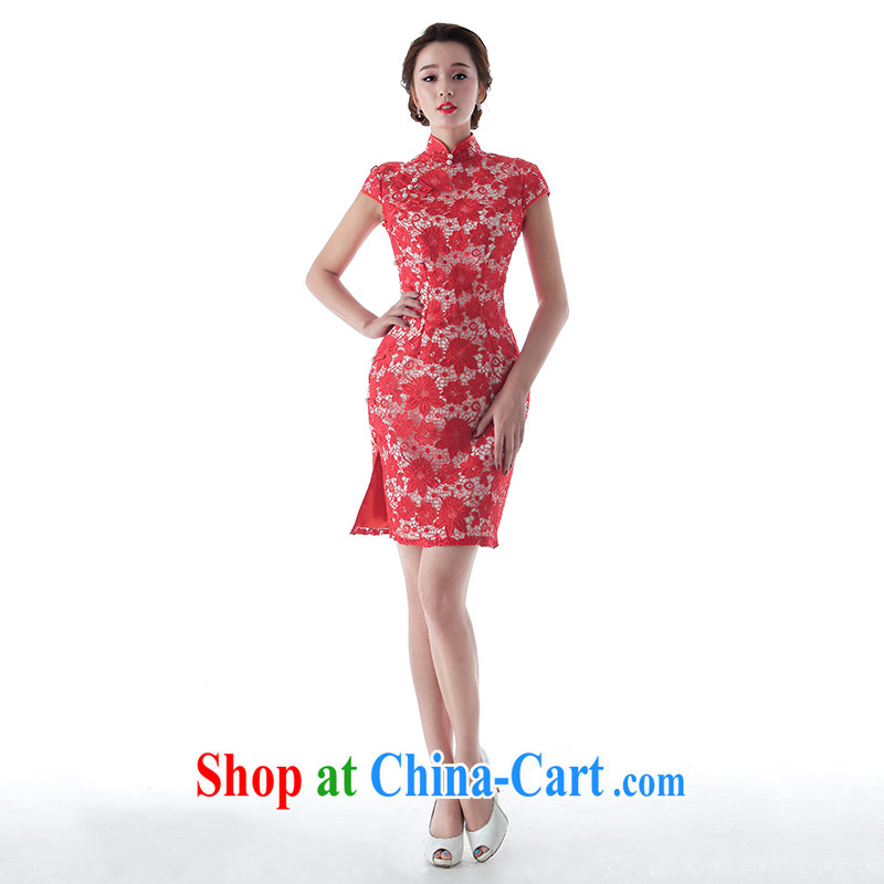 With the 2015 new wedding fatally jealous red elegant lace short cheongsam-fork marriage toast serving the red XL